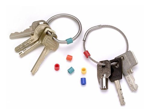 colour coding for both solid and flexible Tamper-proof key rings